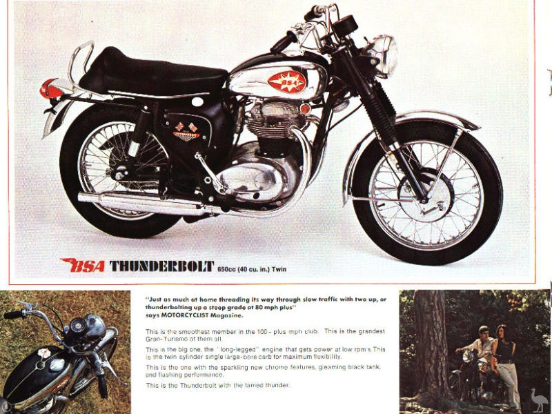 BSA 1968 Thunderbolt 650 Sales Catalog