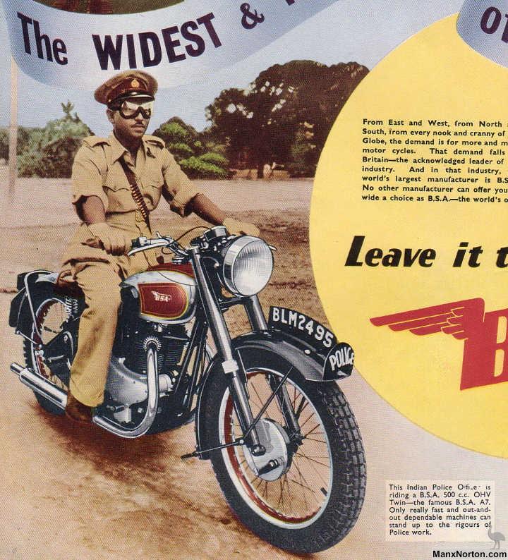 bsa a7 1950 advert