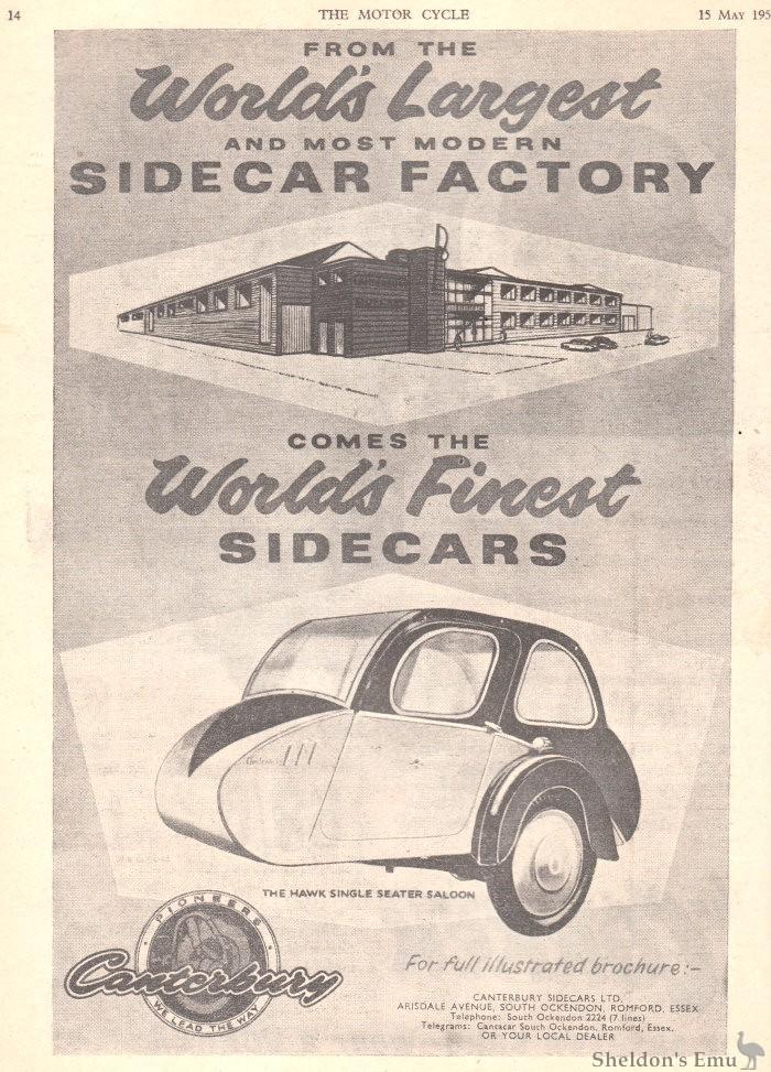 Canterbury 1958 Sidecar Advertisement