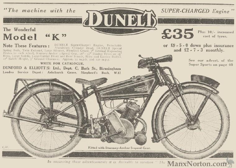 Dunelt Model K 1926 Sturmey Archer 3 Speed