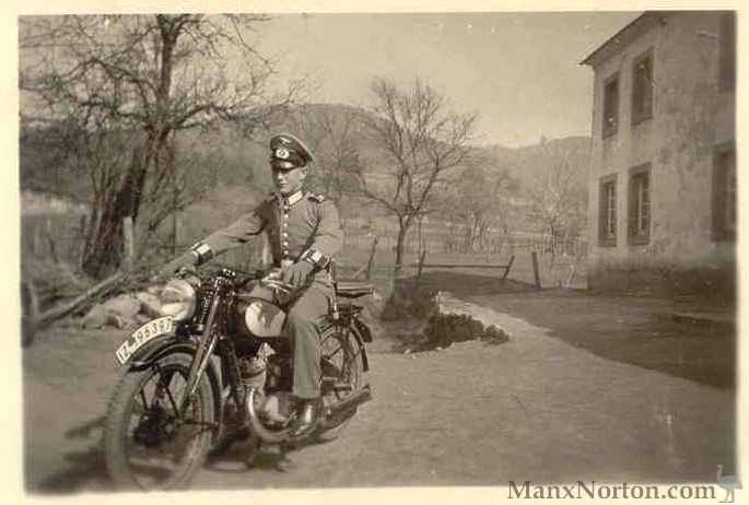 German Soldier On Motorcycle Wwii