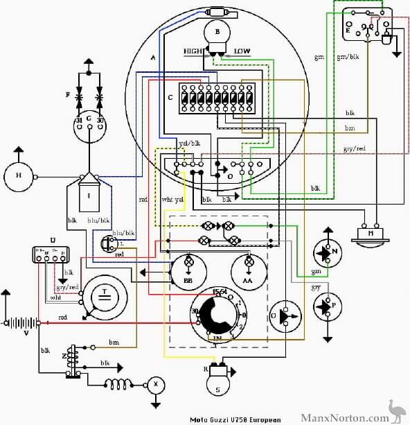 moto guzzi v7 wiring diagram european models  breva 750 wiring diagram #48