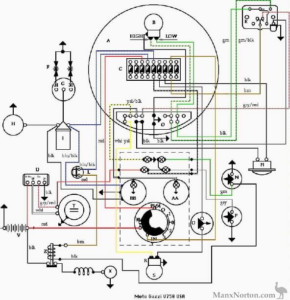 V750 USA Wiring Diagram moto guzzi v750 wiring diagram moto guzzi v7 wiring diagram at fashall.co