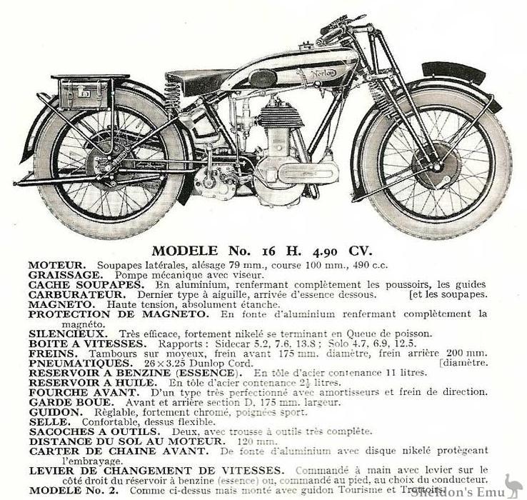 norton 1930 16h specifications
