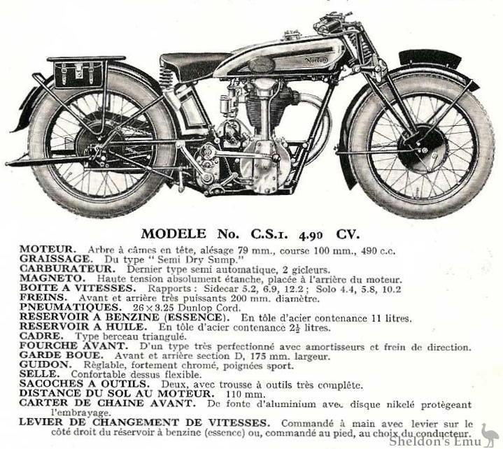 norton 1930 csi 490cc ohc specifications