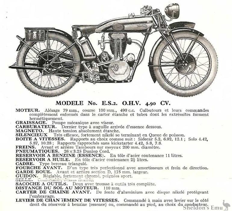 norton 1930 es2 specifications