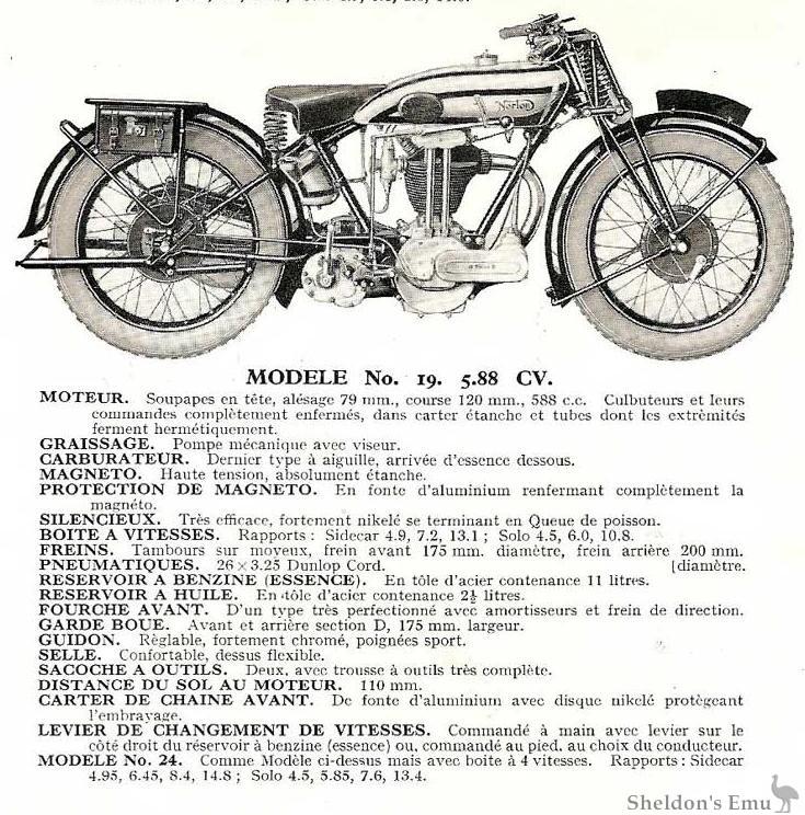norton 1930 model 19 specifications
