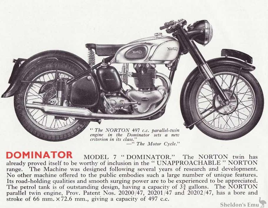 norton dominator model 7 1952