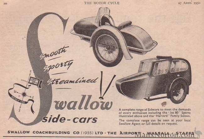 Swallow Sidecars 1950 Advert