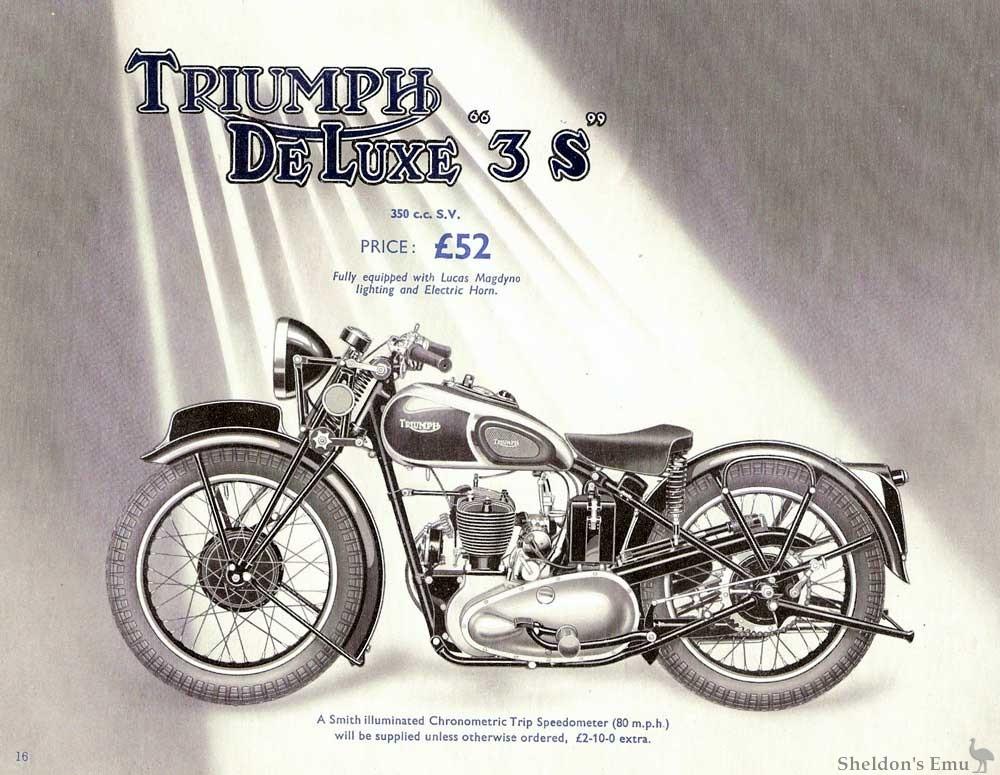 Triumph 1939 Deluxe 3s 350c Sv
