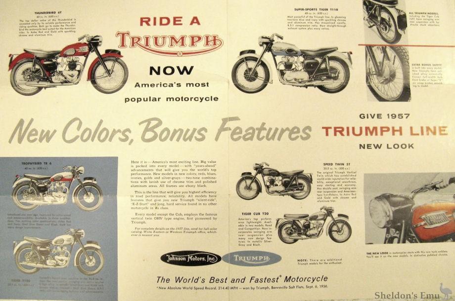 Triumph 1957 Brochure Johnson Motors
