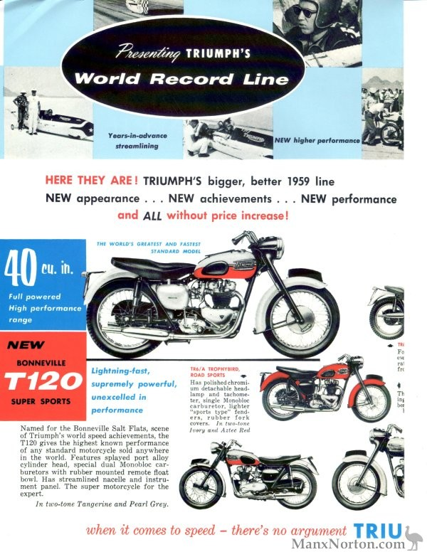 Triumph 1959 Brochure Usa Bonneville 40 Cu In