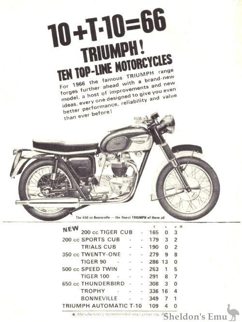 triumph bonneville sales brochure 1966