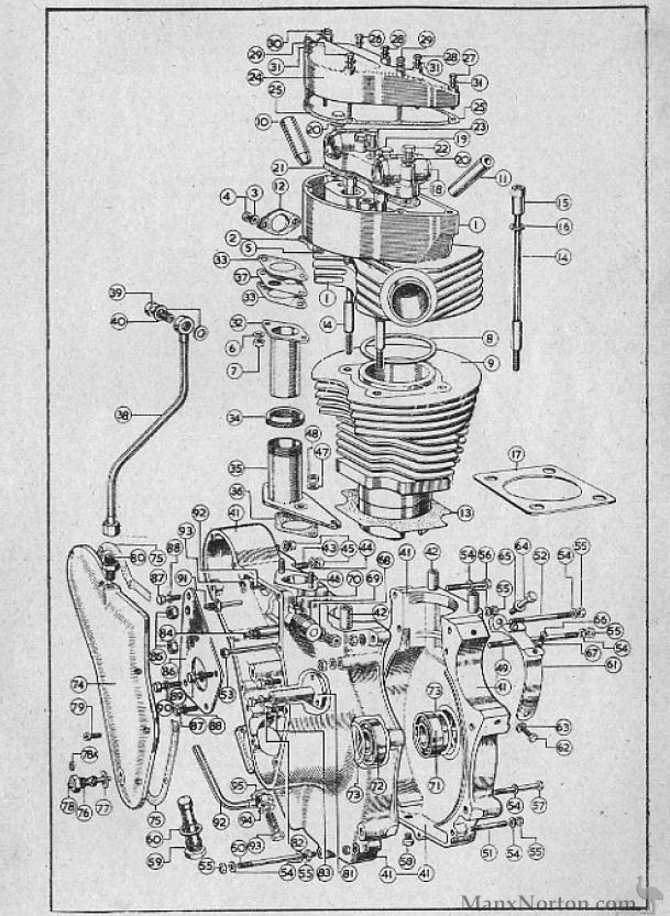 Velocette 1954 Mac Engine Parts Diagram