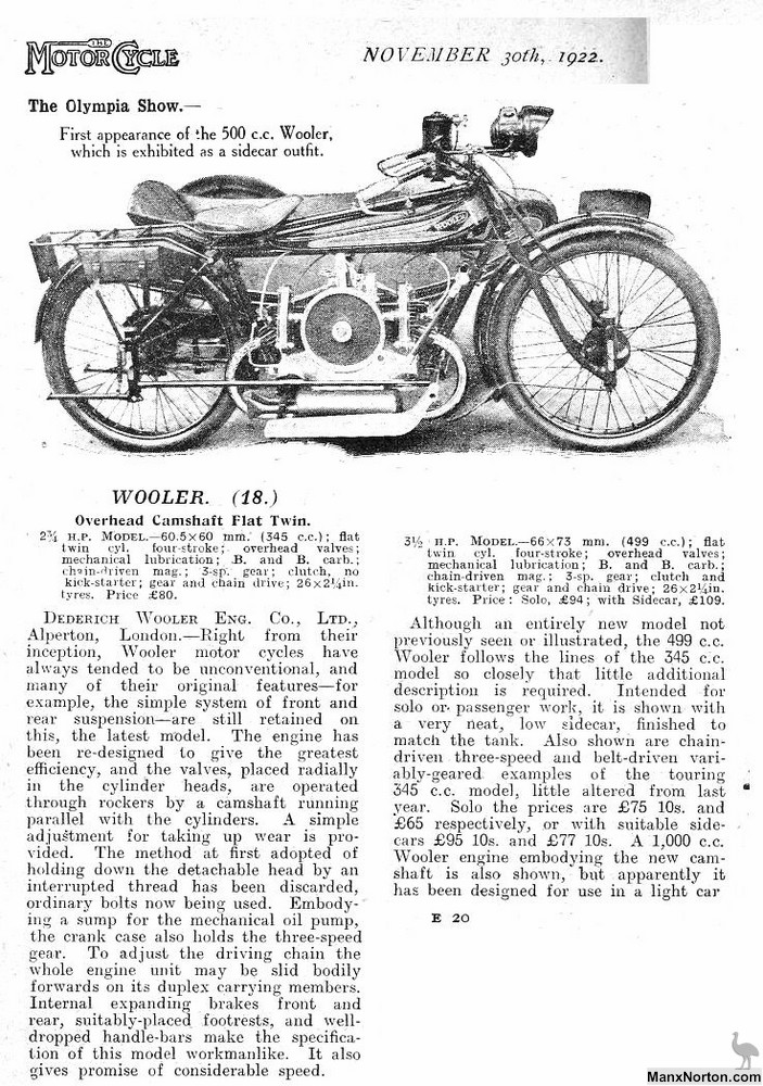 wooler 1922 ohc flat twin