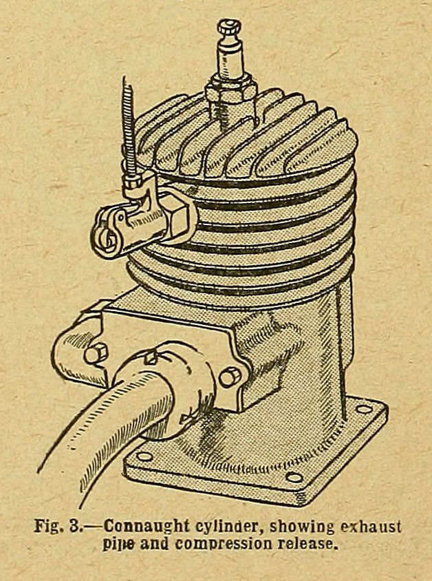 Fig. 3. Connaught cylinder, showing exhaust pipe and compression release.